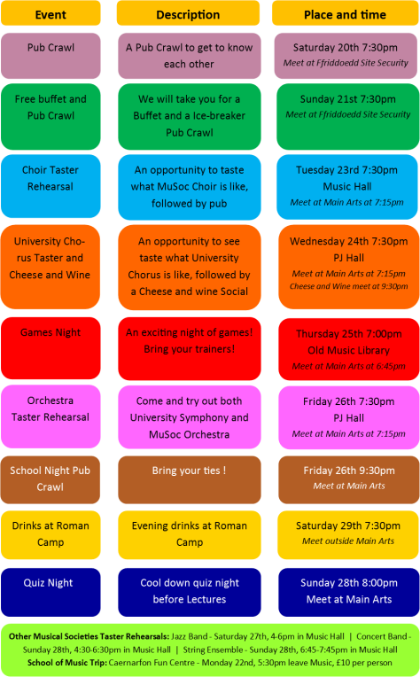 NEW freshers week timetable